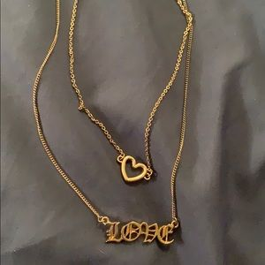 "Gold ""love"" necklace combo"